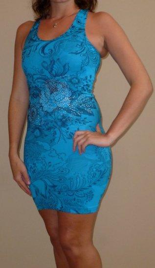 MAXLINE teal blue rhinestone dress ONE SIZE XS S M L