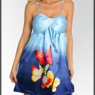 NWT CASUAL blue pink butterfly metallic dress sz S M L