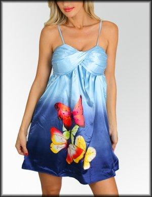 NWT CASUAL blue pink butterfly metallic dress sz S M L