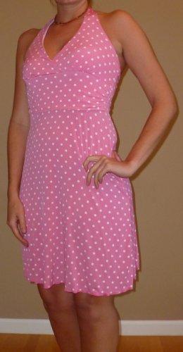NEW VOILA pink polka dot retro halter dress sz S M