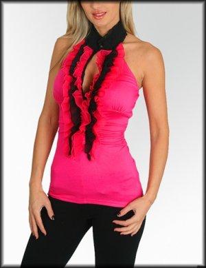 NEW PASTEL hot pink black ruffle peep halter top sz S M L