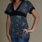 NEW NICE WEAR black grey animal print empire v-neck shirt sz S M L