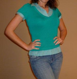 NEW HAVE teal plaid rockabilly short slv shirt sz S M L