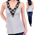 NEW ANDREA grey black silver sequin padded tank top sz M
