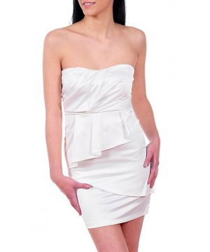 NEW JOSHUA ivory cream satiny ruffle front strapless dress sz S M L