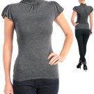 NEW FINESSE dark grey short sleeve mock turtleneck shirt S M L PLUS XL 1X 2X 3X