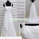 Double Straps White Chiffon Ruffled Applique Beaded Wedding Dress S1