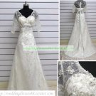 A-line Short Sleeves White Lace Beaded Wedding Dress Bridal Gown S2