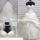 A-line Strapless White Taffeta  Applique Beaded Wedding Dress Bridal Gown With Jacket S3