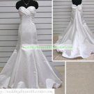 Mermaid Strapless White Taffeta Ruffled Applique Beaded Wedding Dress Bridal Gown S4