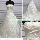 A-line Strapless  White Taffeta  Ruffled Applique Beaded Wedding Dress Bridal Gown S6