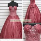 A-line Strapless Red Organza Ruffled Beaded Chapel Train Wedding Dress Bridal Gown S19