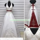 A-line Halter  White Red Satin Embroider Beaded Chapel Train Wedding Dress Bridal Gown S20