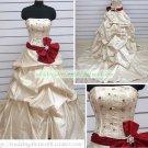 Strapless Champagne Taffeta Embroider Ruffled Beaded Chapel Train Wedding Dress Bridal Gown S24