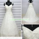 Hot Sale Double Straps White Lace Ruffled Beaded Chapel Train Wedding Dress Bridal Gown S28