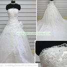Hot Sale Strapless White Organza Ruffled Applique Beaded Chapel Train Wedding Dress Bridal Gown S31