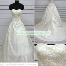 Strapless White Taffeta Organza Embroider Ruffled Beaded Chapel Train Wedding Dress Bridal Gown S32