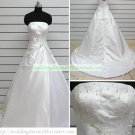 Hot Sale Strapless White Taffeta Ruffled Beaded Chapel Train Wedding Dress Bridal Gown S34