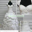 A-line Cap Sleeves White Taffeta Ruffled Applique Beaded Chapel Train Wedding Dress Bridal Gown S38