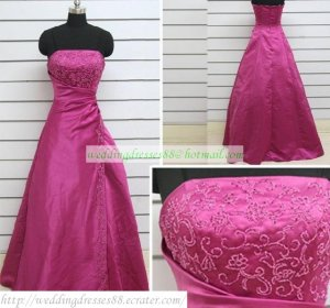 Free Shipping Hot Sale A-line Strapless Red Satin Embroider Beaded Wedding Dress Bridal Gown S47
