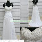 Free Shipping Double Straps White Satin Chiffon Embroider Beaded Wedding Dress Bridal Gown S48