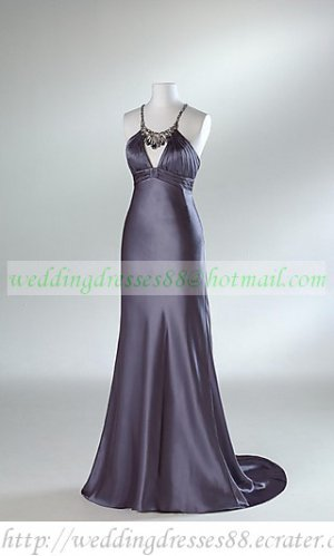 Free Shipping Double Spaghetti Gray Red  Stretch Satin Beaded Evening Dress Party Dress E004