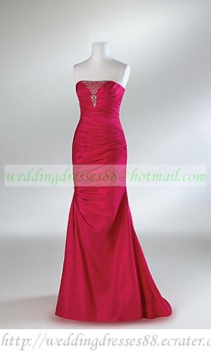 Free Shipping One Shoulder Red Purple Taffeta Ruffled Beaded Evening Dress Party Dress E012