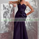 Free Shipping Double Straps Purple Silver Gray Stretch Satin Beaded Party Dress Prom Dress  Y007