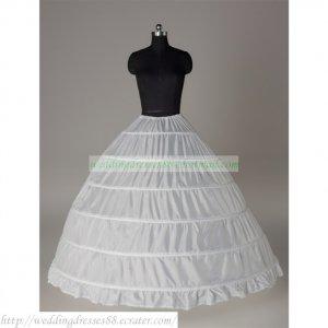 Free Shipping Bridal Accessories-White 6 Hoops No Organza Petticoat Crinoline Underskirt PC11