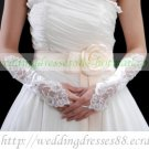 Bridal Accessories-White or Ivory Lace Beaed Wedding Gloves G01