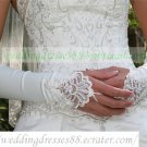 Bridal Accessories-White or Ivory Satin Lace Beaed Wedding Gloves G02