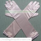 Bridal Accessories-White or Ivory Satin Lace Beaed Wedding Gloves G03