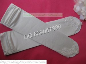 Bridal Accessories-White or Ivory Satin Beaded Wedding Gloves G07