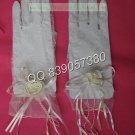 Bridal Accessories-Short  White or Ivory Lace Finger Wedding Gloves G26