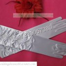 Bridal Accessories-White or Ivory Satin Four Bowknots Finger one Small Flower Wedding Gloves G24