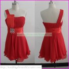 2012 One Shoulder Red Chiffon Beaded Cocktail Dress Homecoming Dress Graduation Dress C006