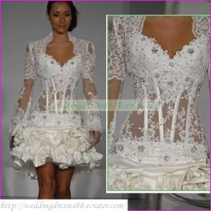 Free Shipping Long Sleeves White Organza Applique Beaded Short Wedding Dress With Jacket L06