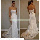 Free Shipping  Strapless White Lace Silver Belt Bridal Gown Beaded A-line Wedding Dress L17
