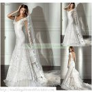 Free Shipping  Double Straps White Lace Organza Bridal Gown Beaded A-line Wedding Dress L23