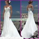 Free Shipping Strapless White Chiffon Bridal Gown Ruffled Beaded A-line Beach Wedding Dress A027
