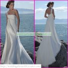 Free Shipping One Shoulder White Chiffon Bridal Gown Ruffled Beaded A-line Beach Wedding Dress A031