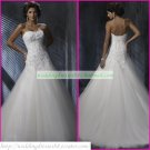 Free Shipping Strapless White Organza Lace Bridal Gown Applique Beaded A-line Wedding Dress A051