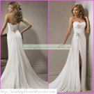 Free Shipping Strapless White Chiffon Bridal Gown Ruffled Beaded A-line Beach Wedding Dress A061