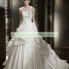 Free Shipping One Shoulder White Satin Bridal Gown Ruffled A-line Wedding Dress Ceilan