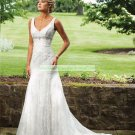 Free Shipping Double Straps White Lace Bridal Gown Beaded A-line  Wedding Dress E231132