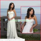 Free Shipping Strapless White Chiffon Bridal Gown Lace Beaded Empire Maternity Wedding Dress H001