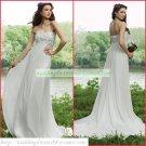 Free Shipping Strapless White Chiffon Lace Bridal Gown Empire Maternity Wedding Dress H004