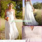Free Shipping Strapless White Chiffon Bridal Gown Empire Maternity Beaded Wedding Dress