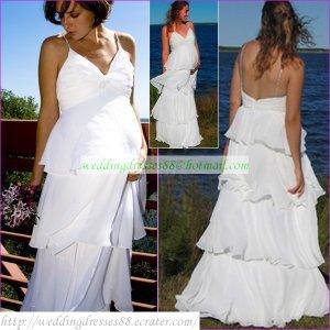 Free Shipping Double Spaghetti White Chiffon Bridal Gown Empire Maternity Towerskirt  Wedding Dress