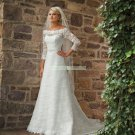 Free Shipping 3/4 Sleeves White Lace Bridal Gown Beaded  Wedding Dress L45